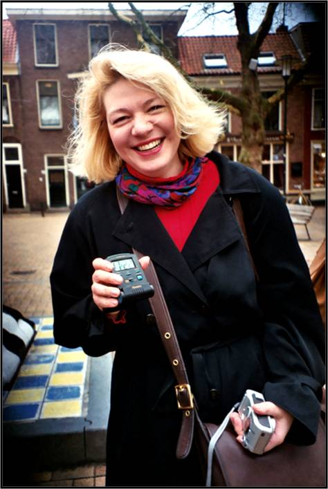 Tour organizer and participant Marie Dauenheimer enjoying a day in Delft during the 2003 VT Tour to The Netherlands and Belgium.