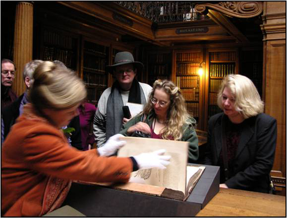 VT Tour participants enjoy a private viewing of rare anatomy books in the Teyler's Museum Library in Haarlem.